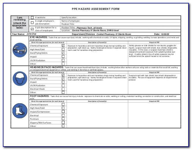 Osha Eyewash Risk Assessment Form