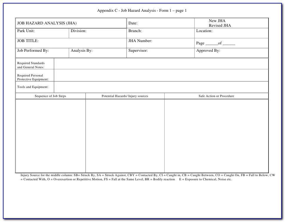 Osha Job Hazard Analysis Blank Form
