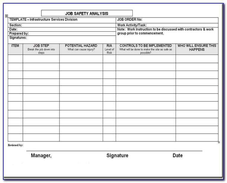 Osha Job Hazard Analysis Form