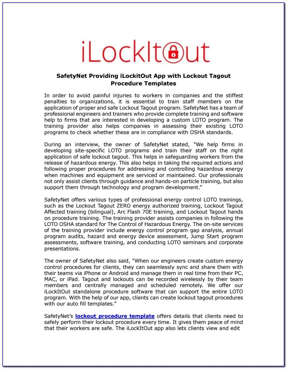 Osha Lockout Tagout Procedure Template