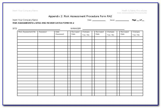 Osha Safety Risk Assessment Template
