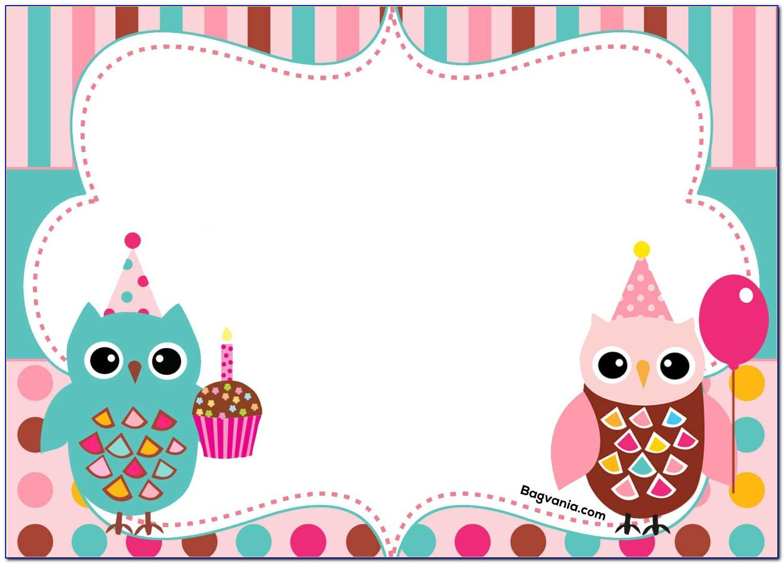 Owl Birthday Invitation Template Free