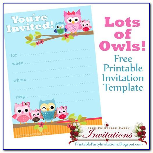 Owl Birthday Party Invitation Template Free