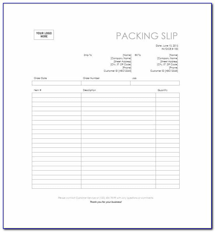 Packing Slip Format Pdf