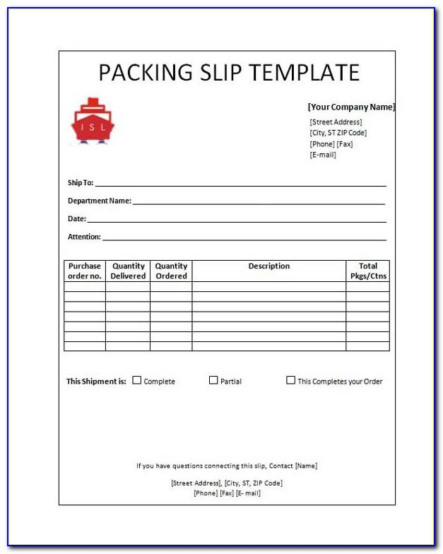 Packing Slip Template Free Download