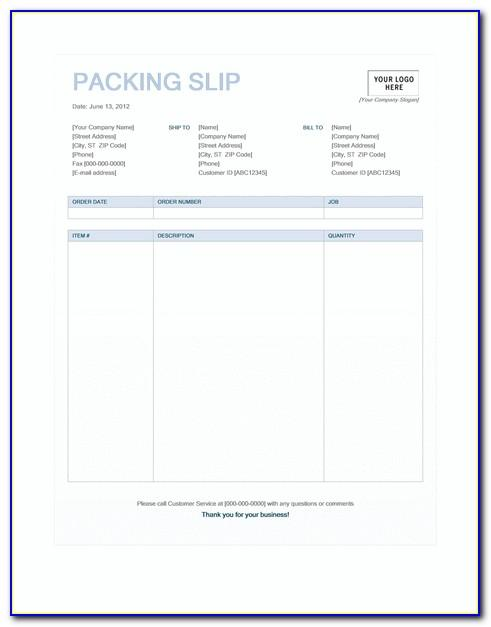 Packing Slip Templates Microsoft Word