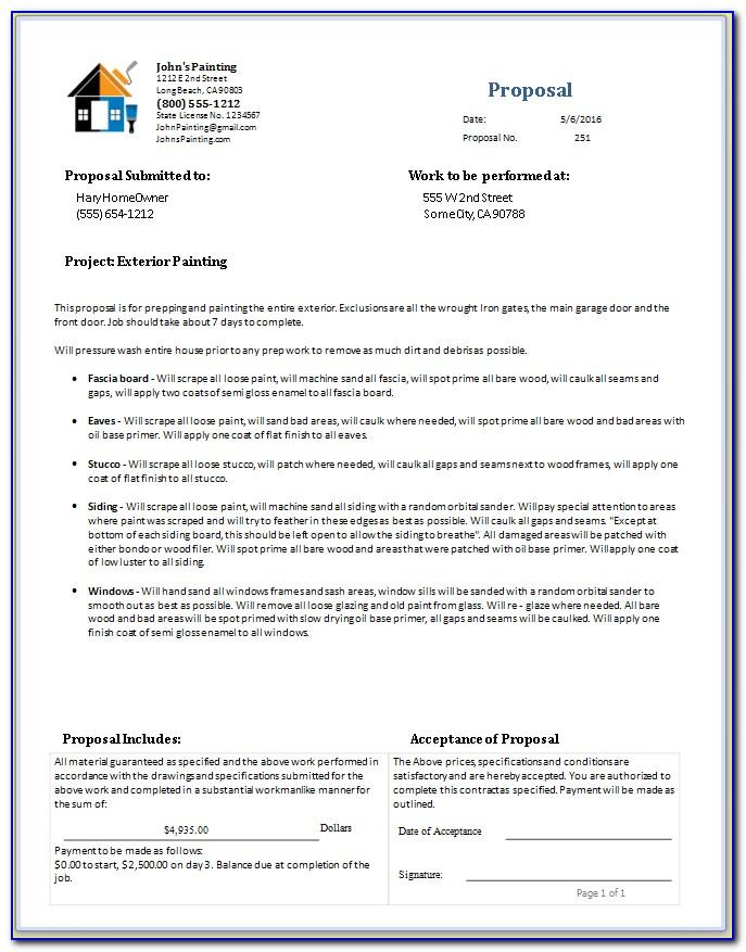Painting Contractor Bid Form Template