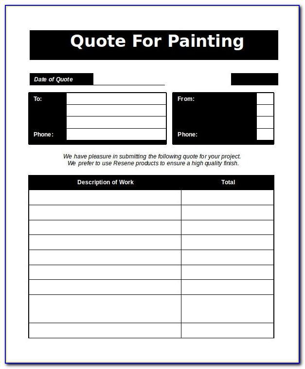 Painting Estimate Sample Form