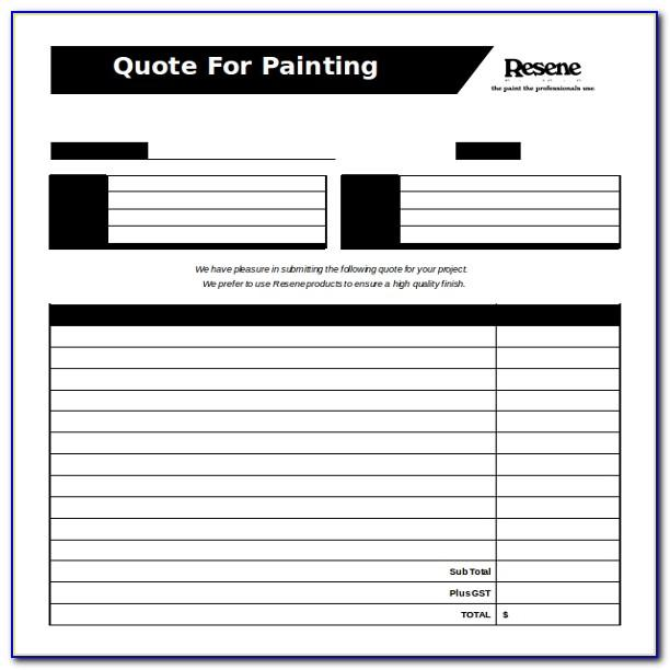Painting Estimate Template Free Downloads