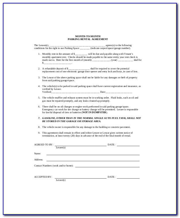 Parking Lot Lease Agreement Form