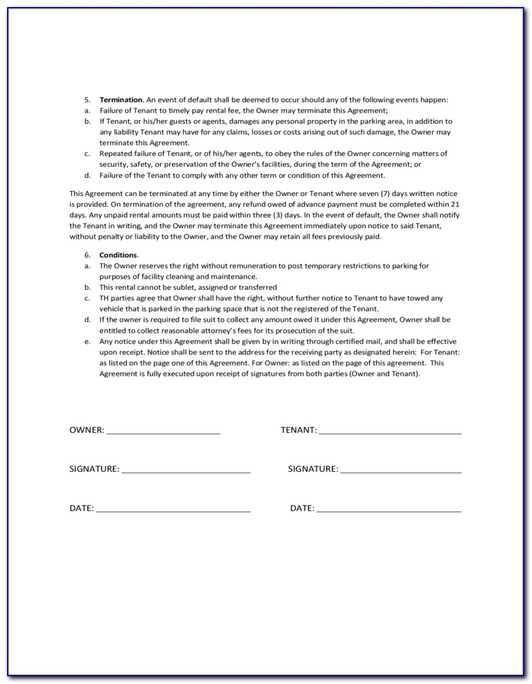 Parking Space Lease Agreement California
