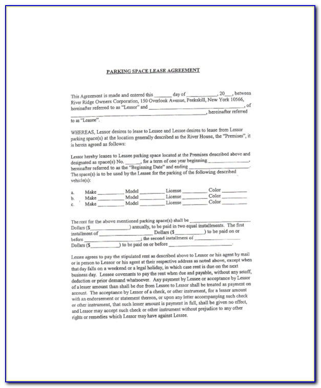 Parking Space Lease Agreement Canada