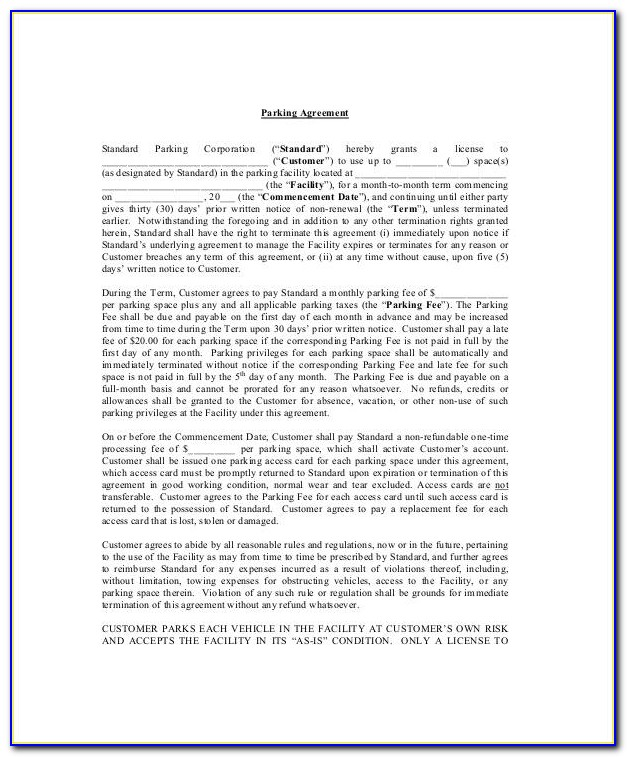 Parking Space Lease Agreement Form