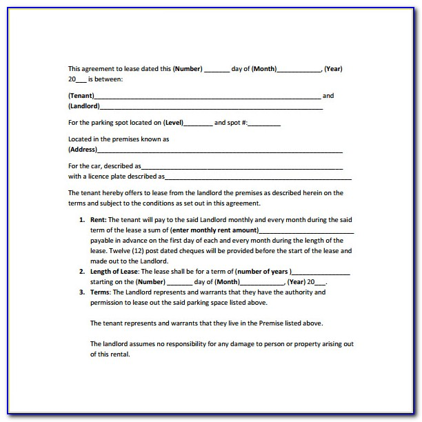 Parking Space Lease Agreement Sample