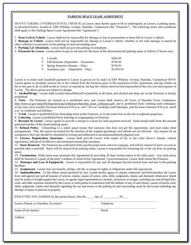 Parking Space Lease Agreement Template Canada