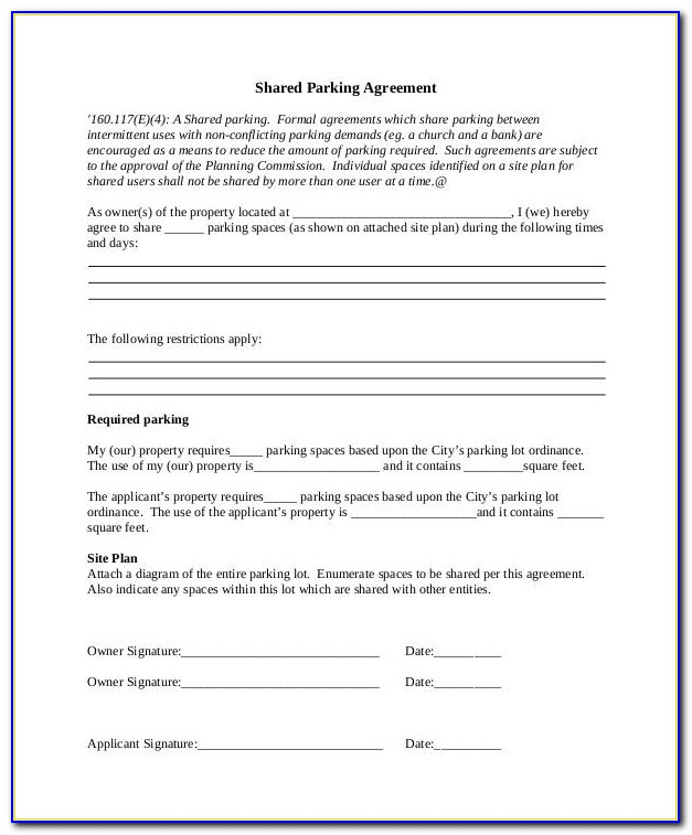 Parking Space Rental Template