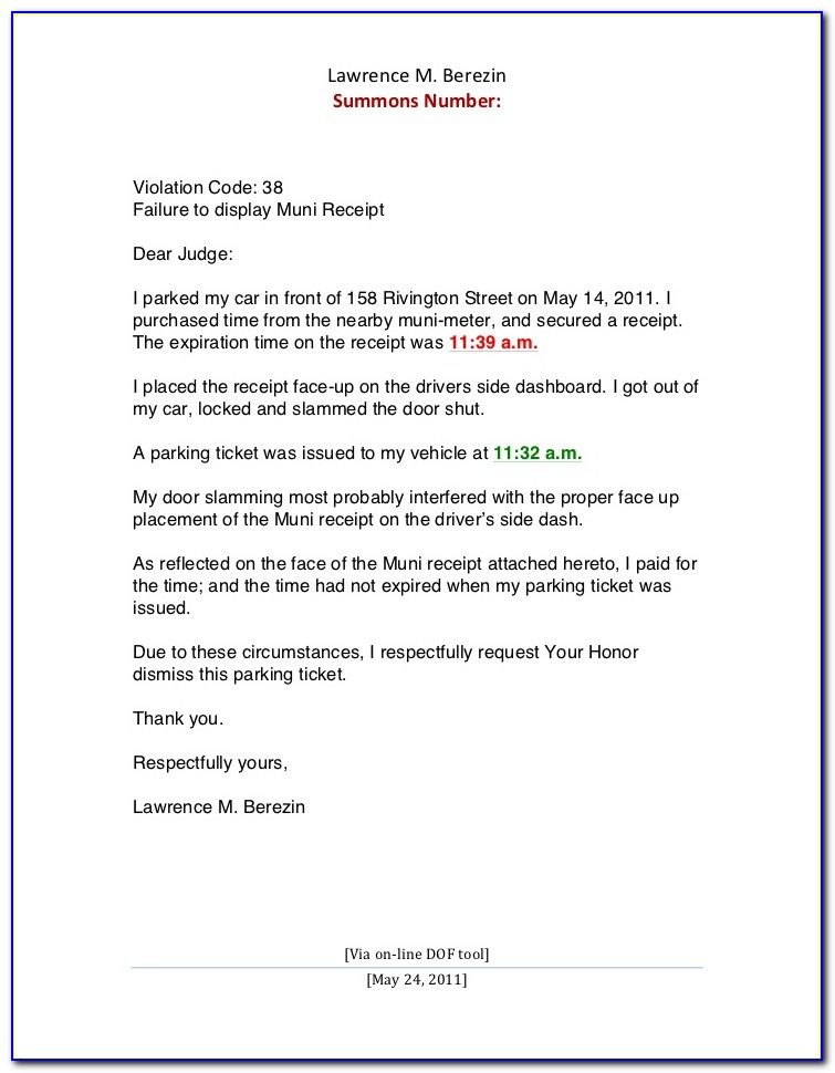 Parking Ticket Contest Letter Template