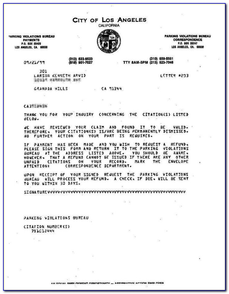 Parking Ticket Dispute Letter Template