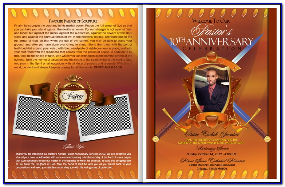 Pastor Anniversary Program Template Free