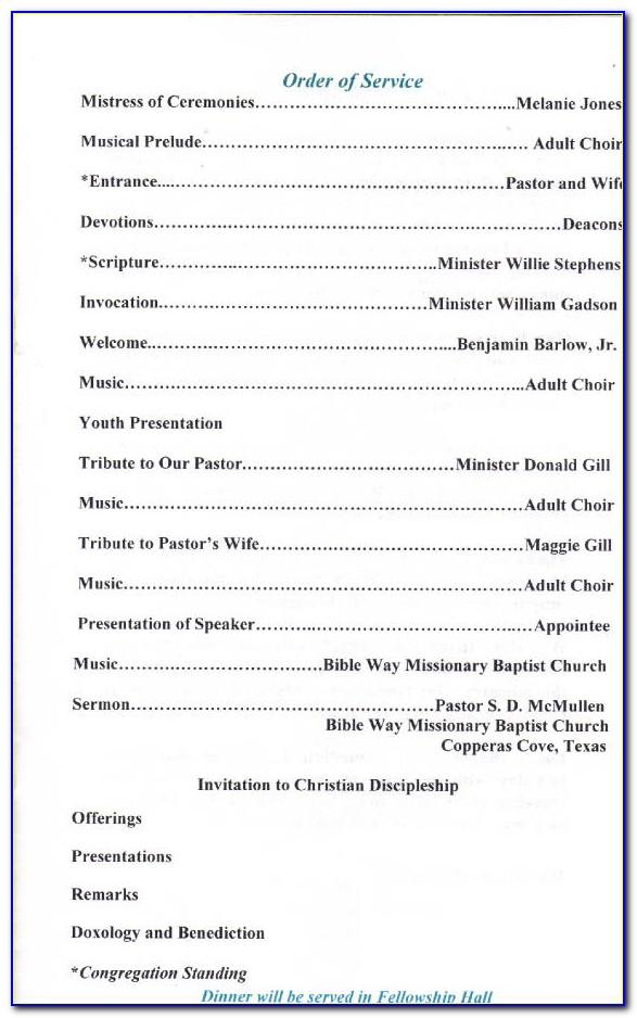 Pastor's Appreciation Program Samples