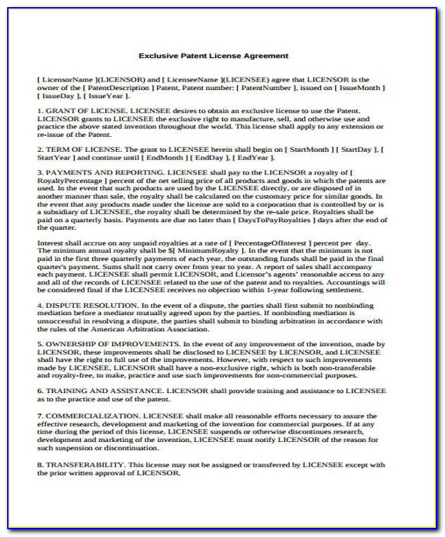 Patent Licence Agreement Template