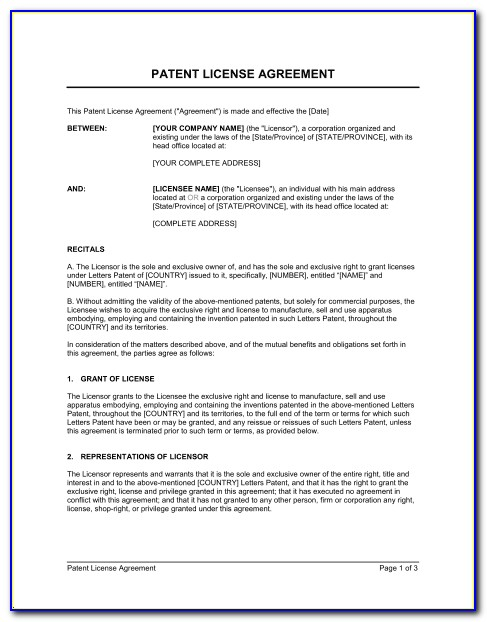 Patent Licensing Agreement Sample Pdf