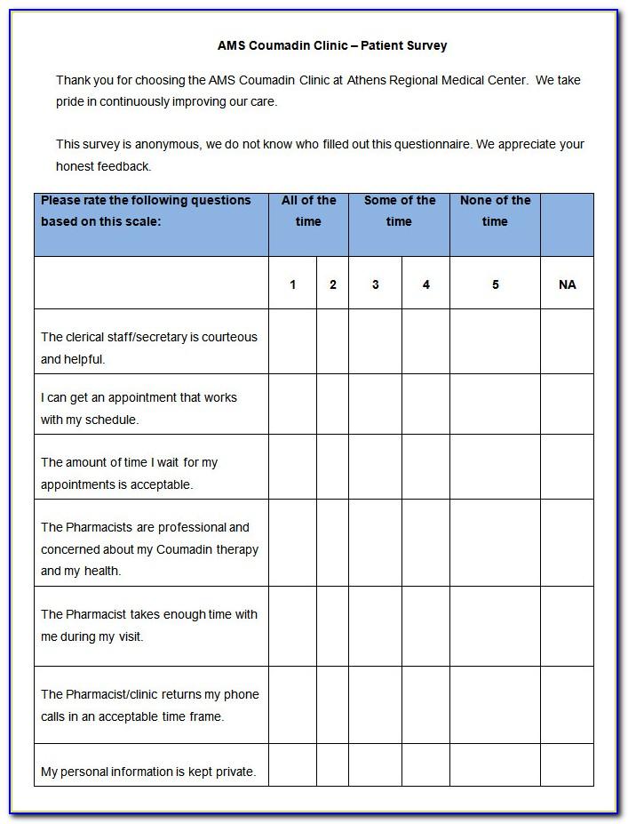 Patient Satisfaction Questionnaire Template