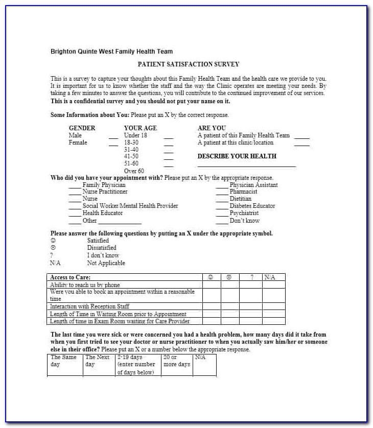 Patient Satisfaction Survey Examples