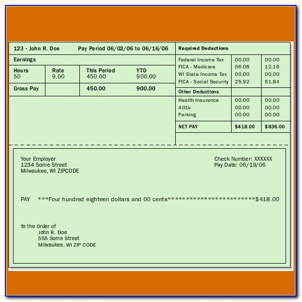 Pay Check Stub Template Free