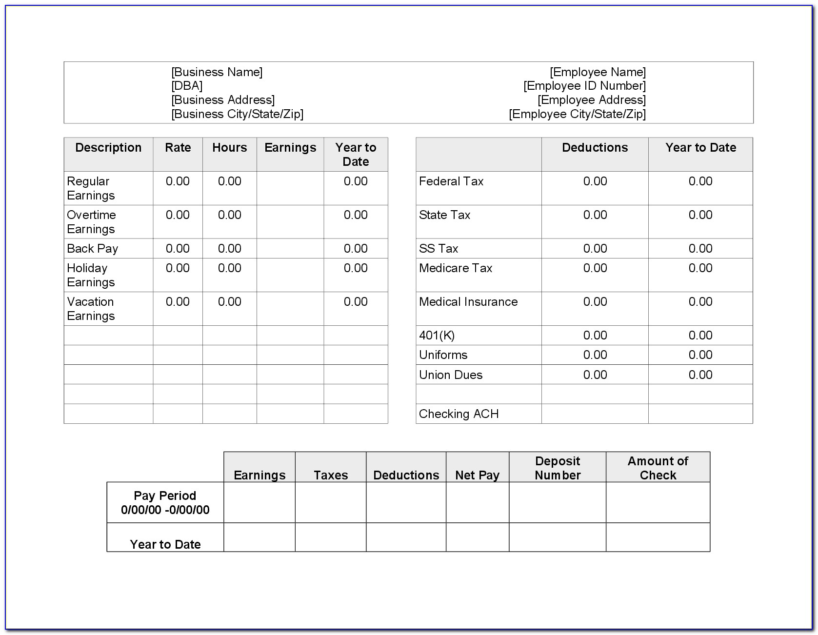 Pay Stub Template For Microsoft Office