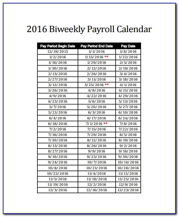 Payroll Calendar Template 2016