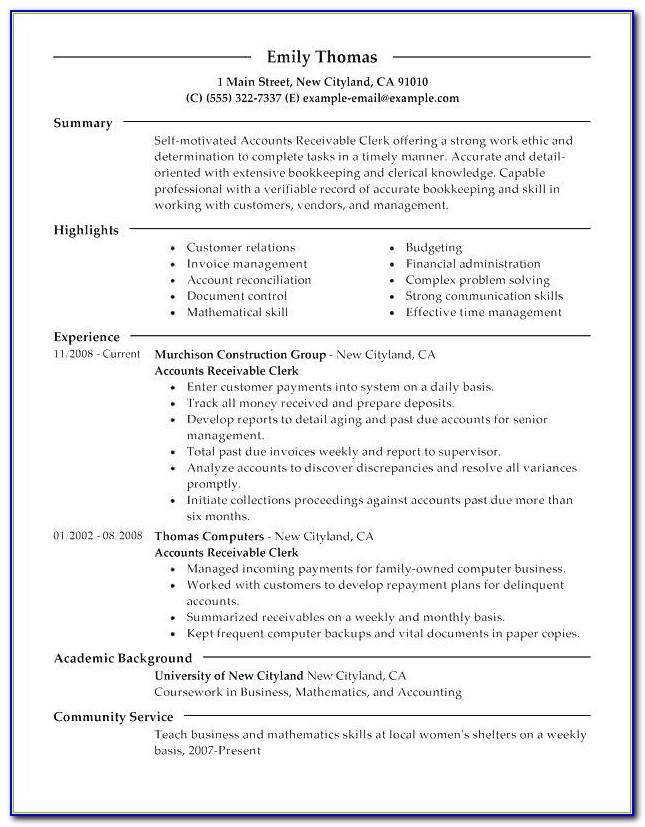 Payroll Clerk Cv Template