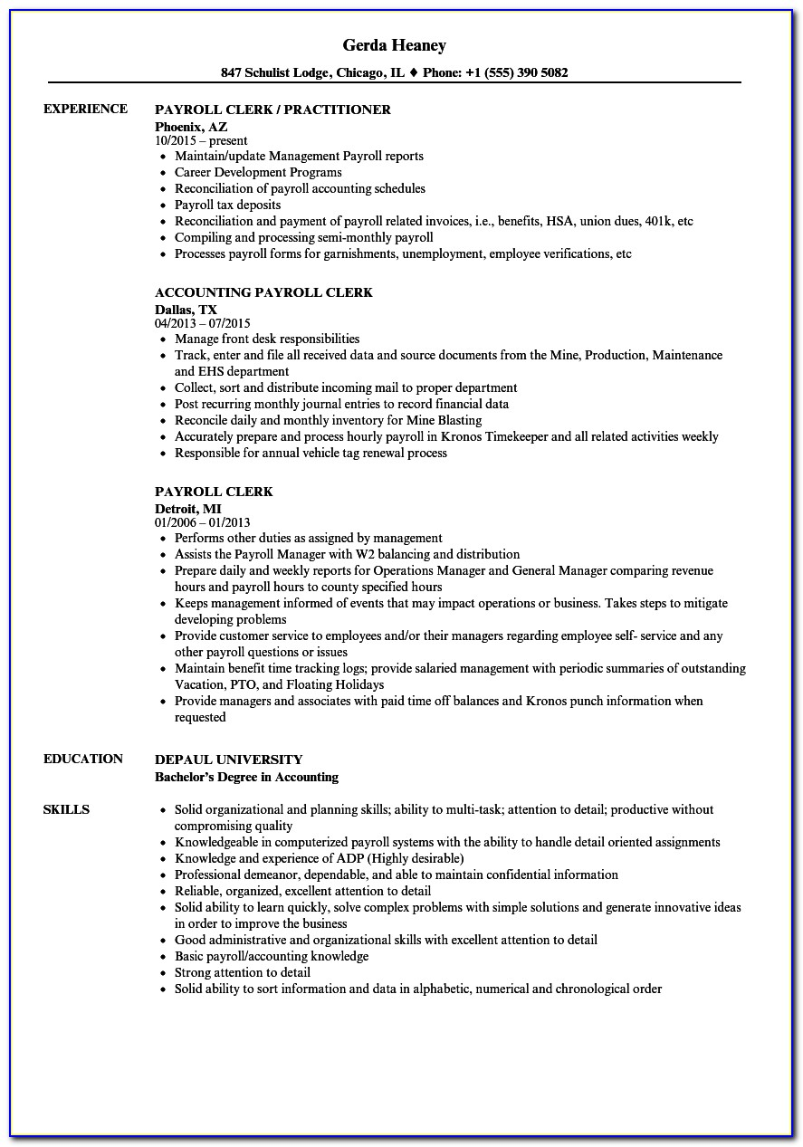 Payroll Clerk Resume Template