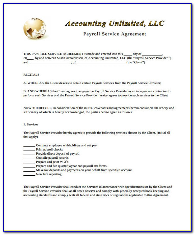 Payroll Services Contract Template