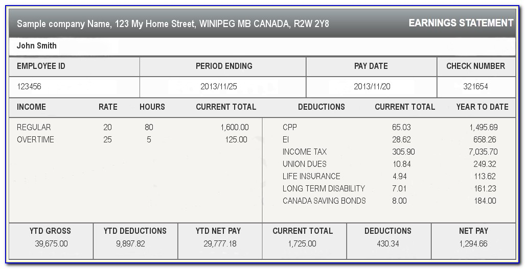 Payroll Statement Of Earnings Template Canada