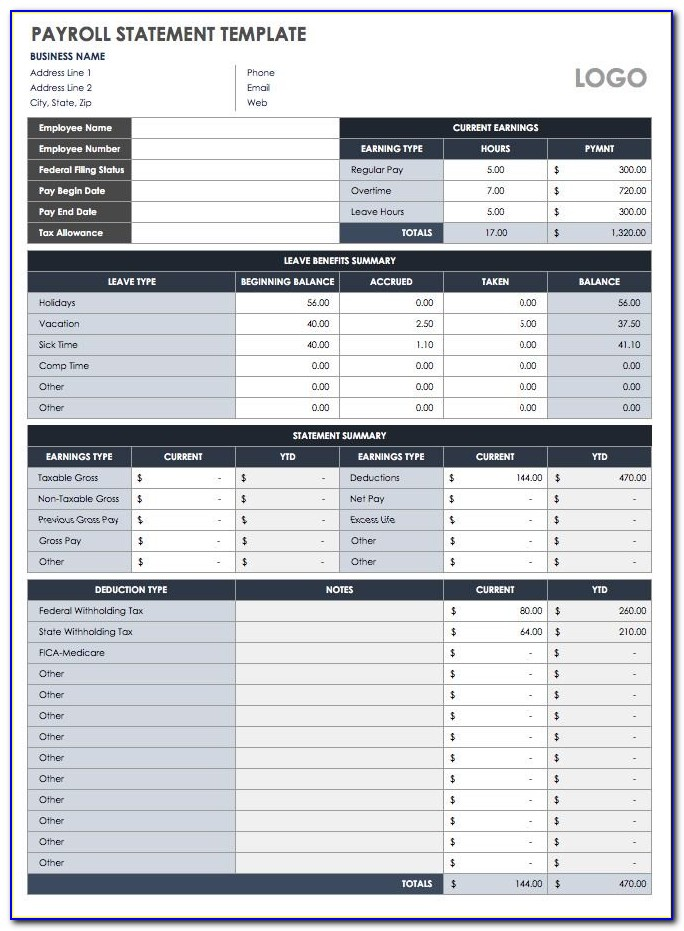 Payroll Summary Report Template