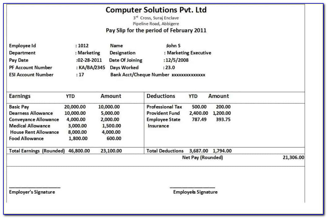 Payslip Template Singapore Excel