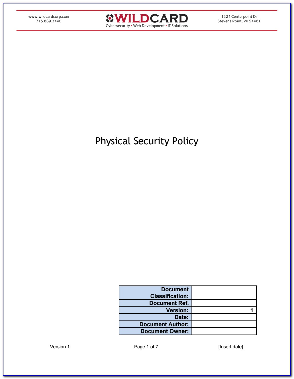 Pci Compliance Policy Templates Free