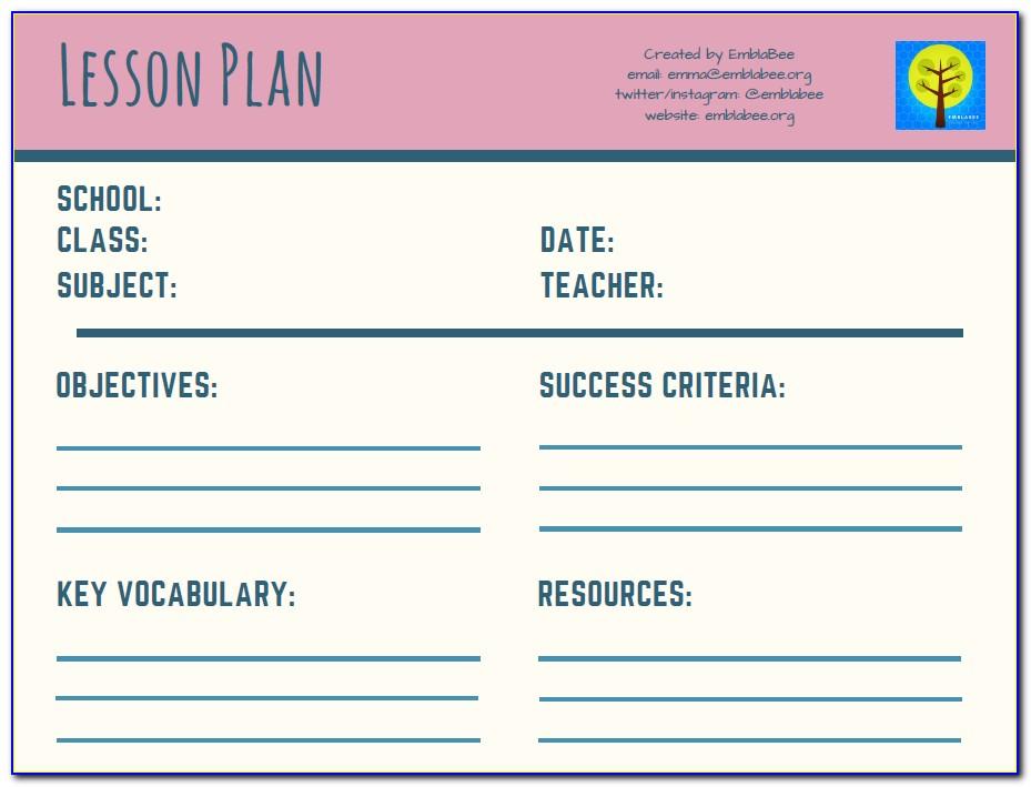 Pe Lesson Plan Template Australia