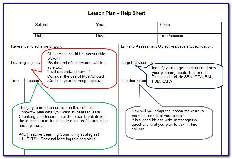 Pe Lesson Plan Template Blank