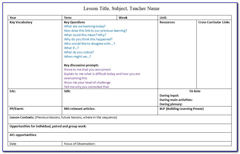 Pe Lesson Plan Template Ks2