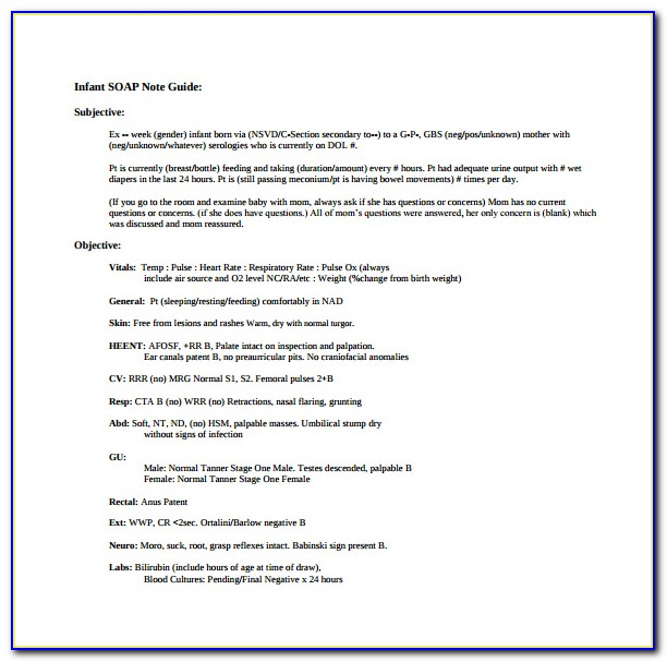 Pediatric Occupational Therapy Soap Note Example