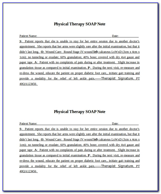 Pediatric Physical Therapy Soap Note Example