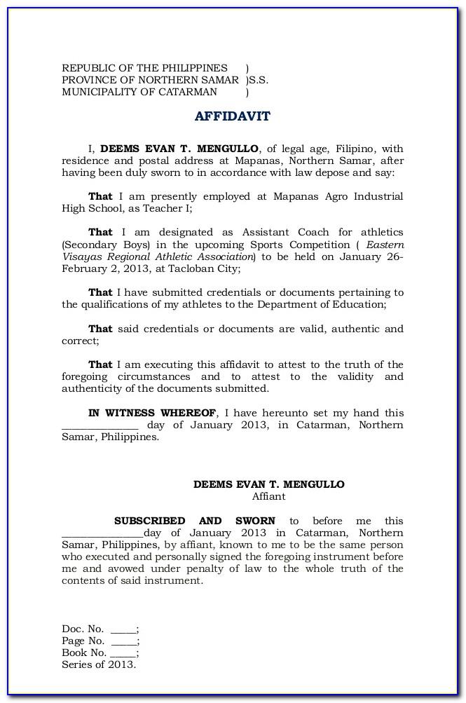Personal Affidavit Template Philippines