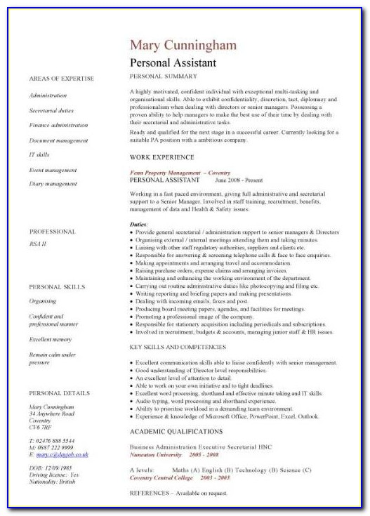 Personal Assistant Objective Resume Sample