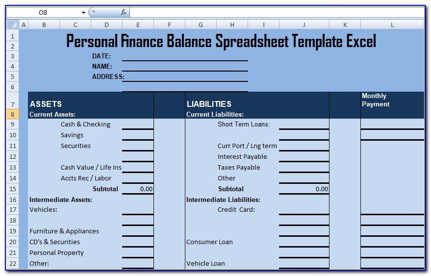 Personal Balance Sheet Template Pdf