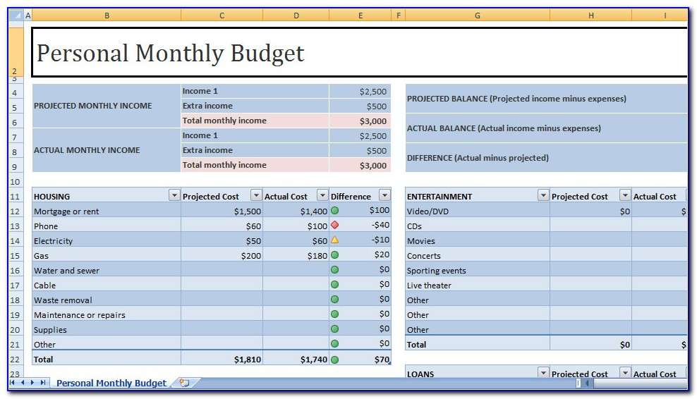 Personal Budget Planner Free Template