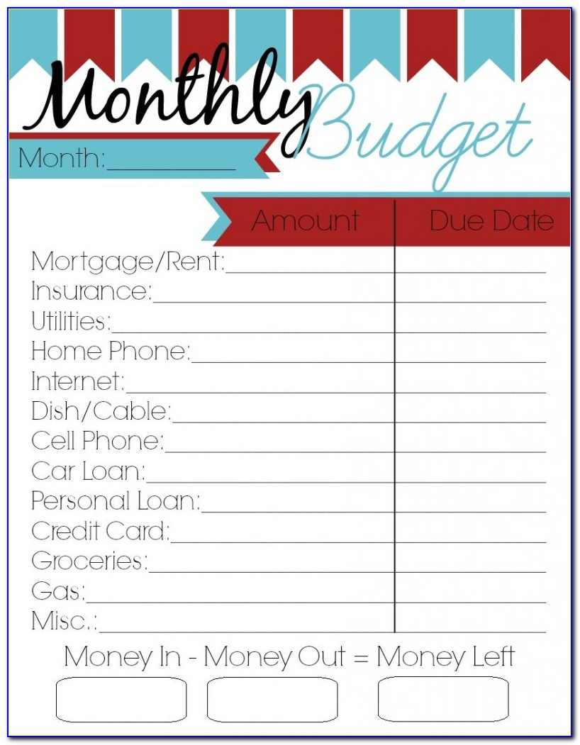 Personal Budget Planner Template Printable