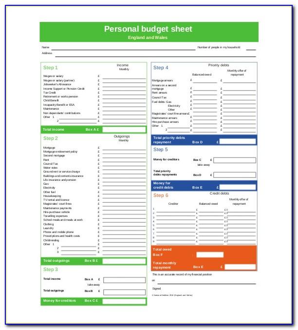 Personal Budget Worksheet Pdf