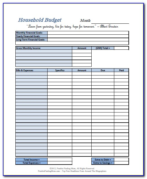 Personal Budget Worksheet Printable